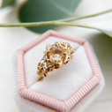 Engagement ring with rutilated gold quartz by Olivia Ewing Jewelry