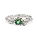 Platinum alternative engagement ring with green sapphire by Olivia Ewing Jewelry