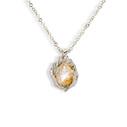 14K white gold teardrop quartz necklace by Olivia Ewing Jewelry