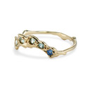 Curved wedding band with montana sapphires by Olivia Ewing Jewelry