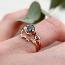Unique Montana sapphire engagement ring in rose gold by Olivia Ewing Jewelry