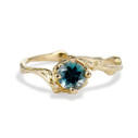 Naples Dark Teal Montana Sapphire Solitaire Ring by Olivia Ewing Jewelry
