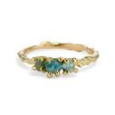 18K Yellow Gold Naples Montana Sapphire Three Stone Ring by Olivia Ewing Jewelry