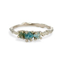 14K white gold rough teal and green sapphire engagement ring by Olivia Ewing Jewelry