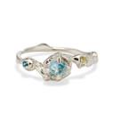 14K white gold raw Montana sapphire ring by Olivia Ewing Jewelry