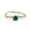 Naples Teal Montana Sapphire Twisted Solitaire by Olivia Ewing Jewelry