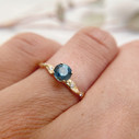 Montana sapphire engagement ring with diamonds by Olivia Ewing Jewelry