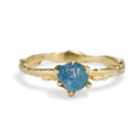 Bluebell Rough Montana Sapphire Solitaire Ring by Olivia Ewing Jewelry