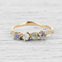 twig engagement ring with rough Montana sapphires in yellow gold  by Olivia Ewing Jewelry