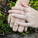 Pink Oregon Sunstone engagement ring by Olivia Ewing Jewelry