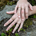 Pink stone rose gold engagement ring by Olivia Ewing Jewelry