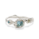 Silver Montana Sapphire engagement ring by Olivia Ewing Jewelry