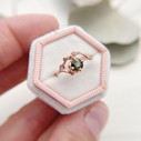 Rose gold green sapphire engagement ring by Olivia Ewing Jewelry