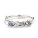 Silver Garland Four Stone Ring with Rough Montana Sapphire by Olivia Ewing Jewelry