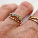 Montana Sapphire Garland Ring with 14K yellow gold band by Olivia Ewing Jewelry