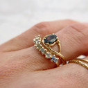 Sapphire Garland Ring with Unity Sapphire Ring by Olivia Ewing Jewelry