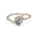 14K white gold with silver grey diamond engagement ring  by Olivia Ewing Jewelry