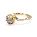 14K yellow gold with grey diamond solitaire ring  by Olivia Ewing Jewelry