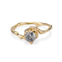 Naples Salt and Pepper Diamond Solitaire Ring by Olivia Ewing Jewelry
