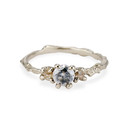 14K white gold three stone engagement ring with grey diamond and uncut champagne diamonds by Olivia Ewing Jewelry