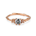 14K rose gold salt and pepper diamond ring with light blush diamonds  by Olivia Ewing Jewelry