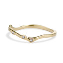 Curved twig wedding band in 14K yellow gold by Olivia Ewing Jewelry