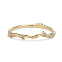 Diamond curved nature band in 14K yellow gold by Olivia Ewing Jewelry