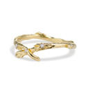 Curved diamond wedding band in 14K yellow gold by Olivia Ewing Jewelry