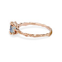 14K rose gold textured engagement ring with sapphires by Olivia Ewing Jewelry