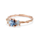 Blue and white gemstone nature-inspired engagement ring by Olivia Ewing Jewelry