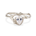 14K white gold pear shaped diamond ring by Olivia Ewing Jewelry