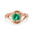 Rose Gold Chelsea Emerald Solitaire Ring by Olivia Ewing Jewelry