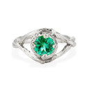 Platinum Chelsea Emerald Solitaire Ring by Olivia Ewing Jewelry