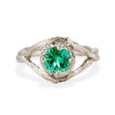 White Gold Chelsea Emerald Solitaire Ring by Olivia Ewing Jewelry