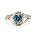 White Gold Chelsea Montana Sapphire Solitaire Ring by Olivia Ewing Jewelry
