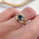 Unique Montana Sapphire Engagement Ring in white gold by Olivia Ewing Jewelry