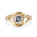 Yellow Gold Chelsea Salt & Pepper Diamond Solitaire Ring by Olivia Ewing Jewelry