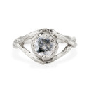 Platinum Chelsea Salt & Pepper Diamond Solitaire Ring by Olivia Ewing Jewelry