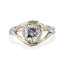 White Gold Chelsea Salt & Pepper Diamond Solitaire Ring by Olivia Ewing Jewelry