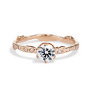 14K Rose Gold Bluebell Diamond Solitaire Ring by Olivia Ewing Jewelry