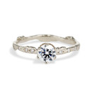 14K White Gold Bluebell Diamond Solitaire Ring by Olivia Ewing Jewelry