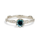 14K White Gold Bluebell Montana Sapphire Solitaire Ring by Olivia Ewing Jewelry