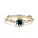 14K Yellow Gold Bluebell Montana Sapphire Solitaire Ring by Olivia Ewing Jewelry