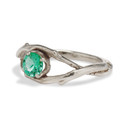 18K White Gold Large Unity Emerald Solitaire Ring by Olivia Ewing Jewelry