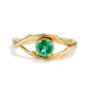 14K Yellow Gold Large Unity Emerald Solitaire Ring by Olivia Ewing Jewelry