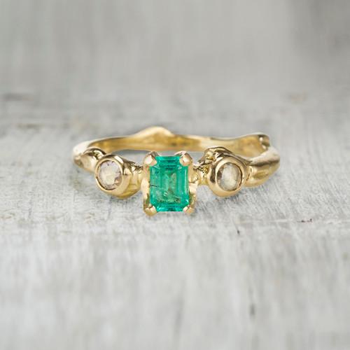 Aurora Emerald Three Stone Ring by Olivia Ewing Jewelry