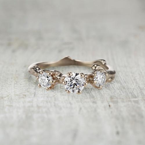 Aurora Diamond Three Stone Ring by Olivia Ewing Jewelry