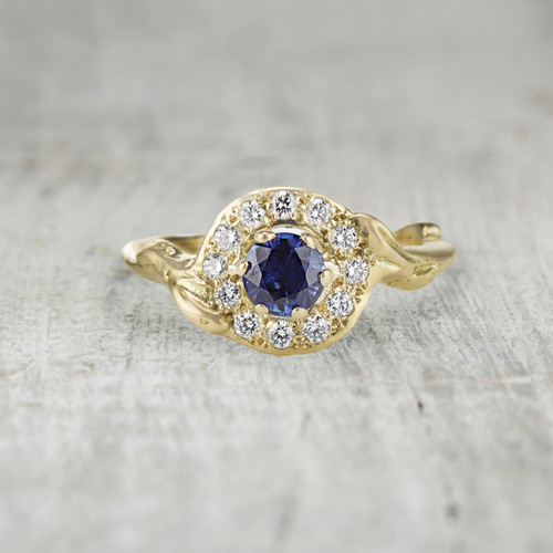sapphire twig halo engagement ring