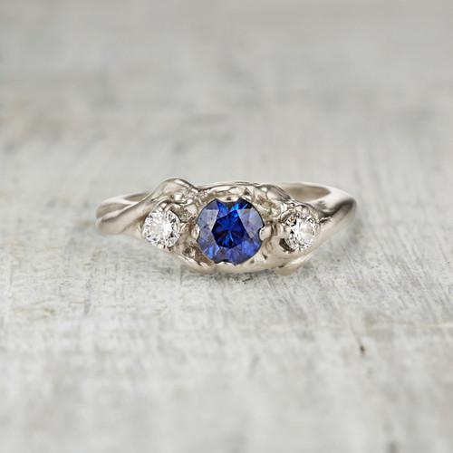 Harmony Sapphire and Diamond Three Stone Ring by Olivia Ewing Jewelry
