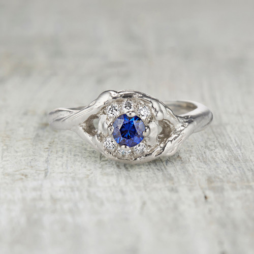 Harmony Sapphire Halo Ring by Olivia Ewing Jewelry